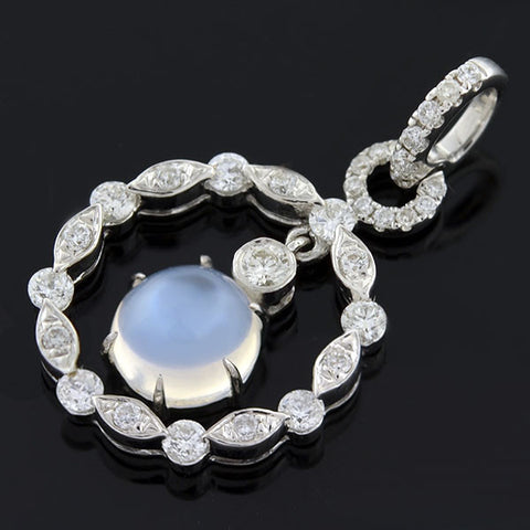 JBI Estate 14kt Moonstone Diamond Pendant