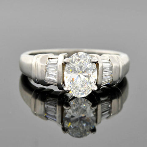 Vintage Platinum Oval Brilliant Cut Diamond Engagement Ring 1.10ct