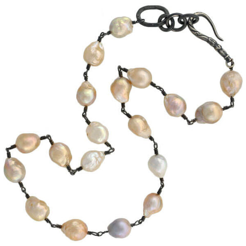 Estate Sterling Freshwater Baroque Pearl Necklace 11-13mm
