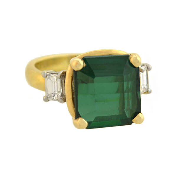 Estate 18kt/Platinum Green Tourmaline + Diamond Ring 5.30ct