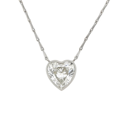 Estate Platinum/14kt Diamond Heart Pendant Necklace 2.70ct