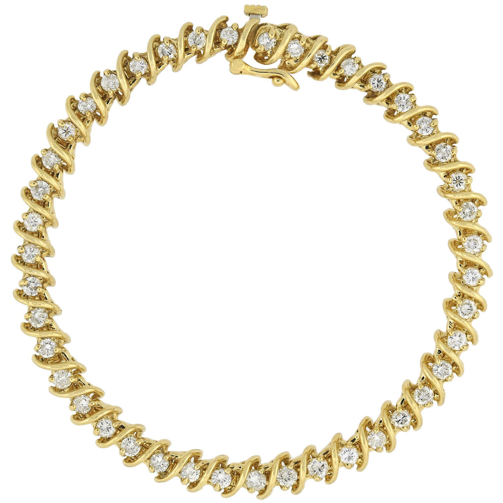 Estate 14kt Yellow Gold Diamond Link Bracelet 2.20ctw