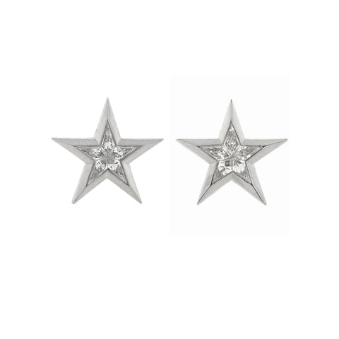 Estate 18kt Kite Cut Diamond Star Earrings 0.65ctw