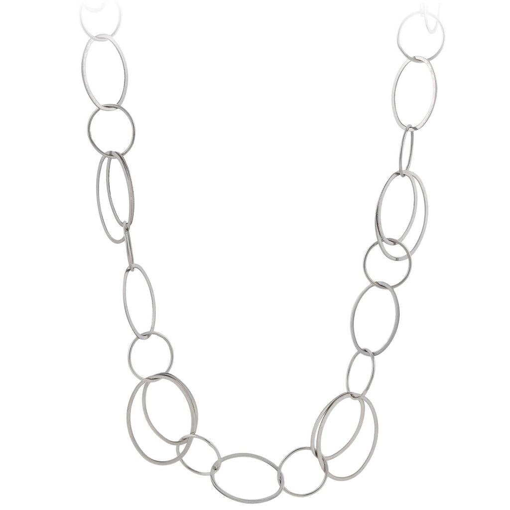 Estate 14kt White Gold Chain Link Necklace 36""