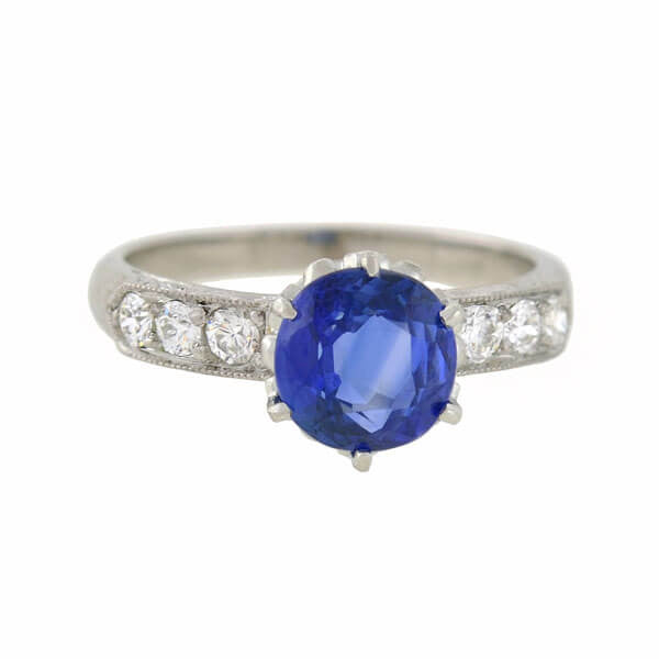 Art Deco Style Platinum Sapphire Diamond Ring 1.50ct