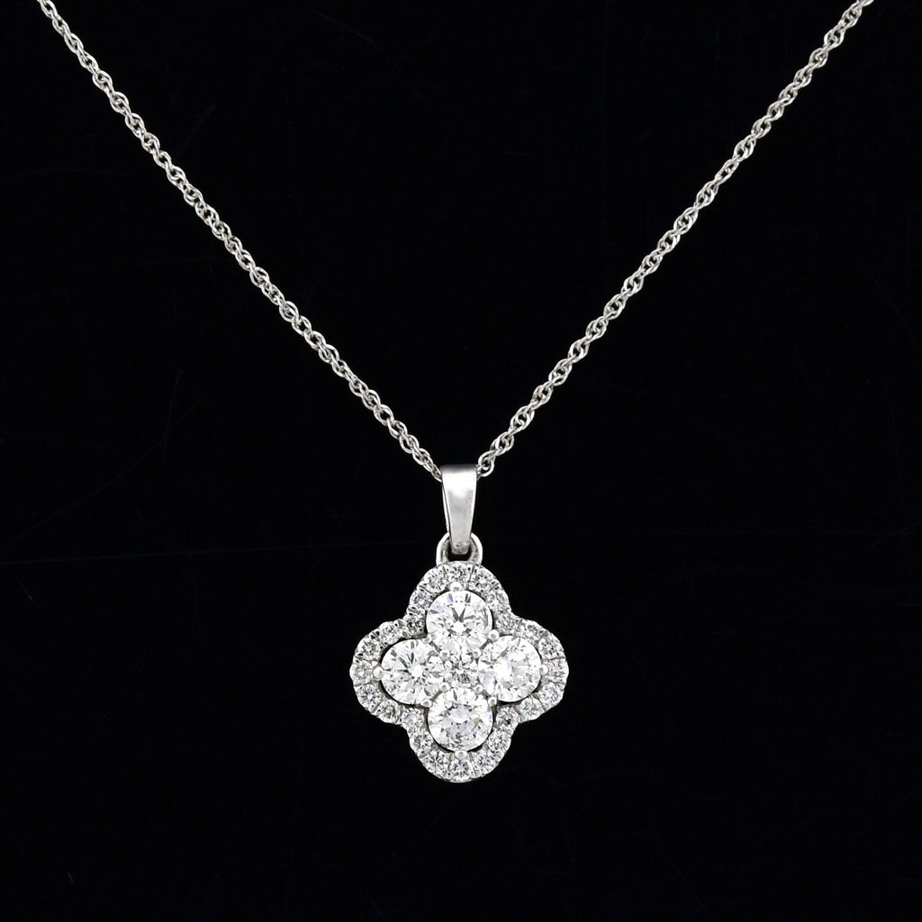 Estate 14kt Diamond Quatrefoil Pendant Necklace 0.75ctw