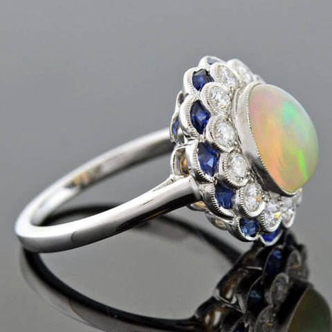 Estate 18kt Opal, Diamond & Sapphire Cluster Ring