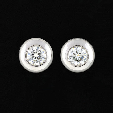 Estate Platinum Round Brilliant Diamond Stud Earrings 1.50ctw