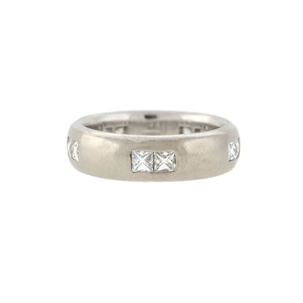 Estate 18kt French Cut Diamond Wide Band Ring 1.00ctw