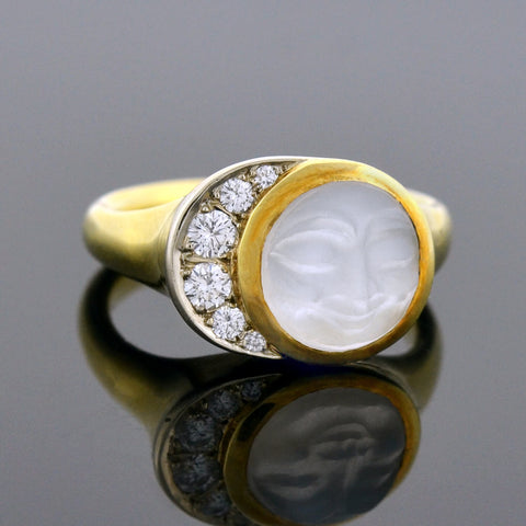 Estate 18kt Carved Moonstone Face + Diamond Crescent Ring