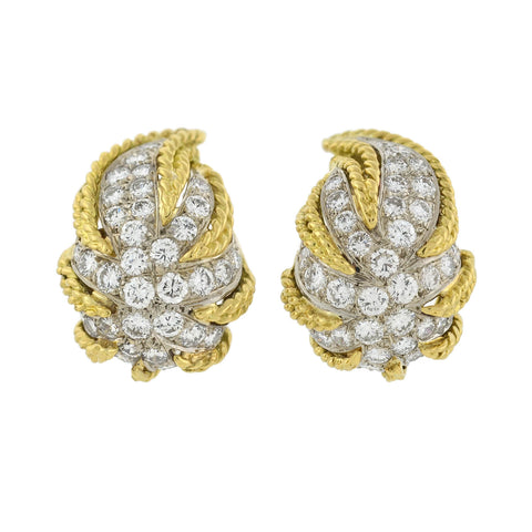 Estate 18kt Mixed Metals Diamond Leaf Earrings 4.00ctw