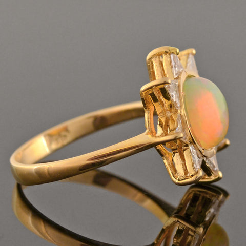 Estate 18kt Opal + Triangular Brilliant Cut Diamond Sun Motif Ring