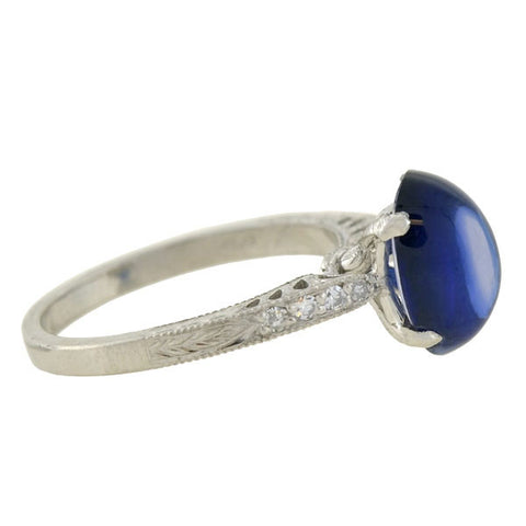 Estate Platinum Cabochon Sapphire & Diamond Ring 3.57ct