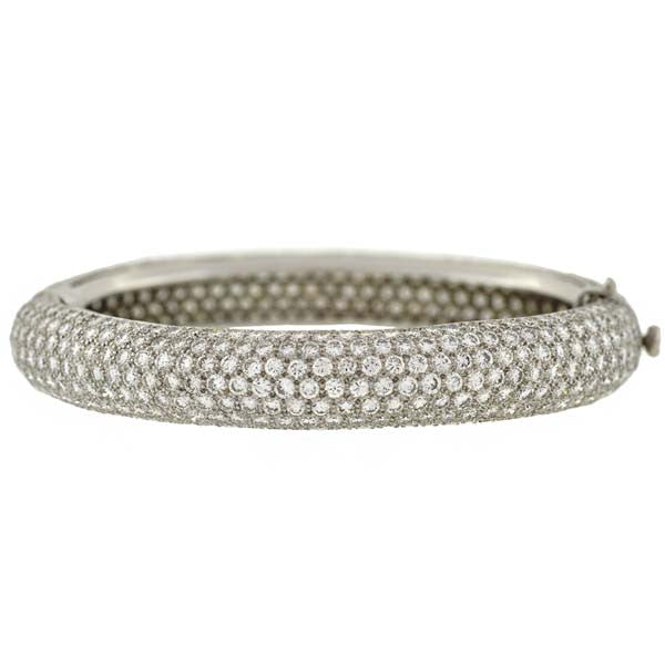 Estate Platinum Micro Pavé Diamond Bangle Bracelet 17ctw