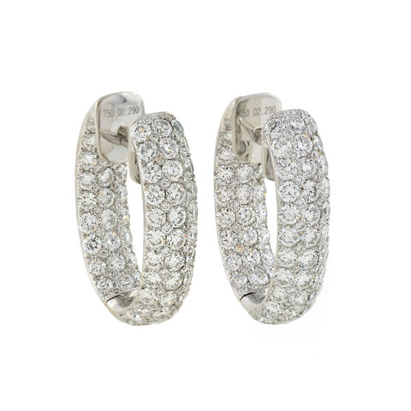 "Estate 18kt ""Inside-Out"" Diamond Hoop Earrings 3ctw"