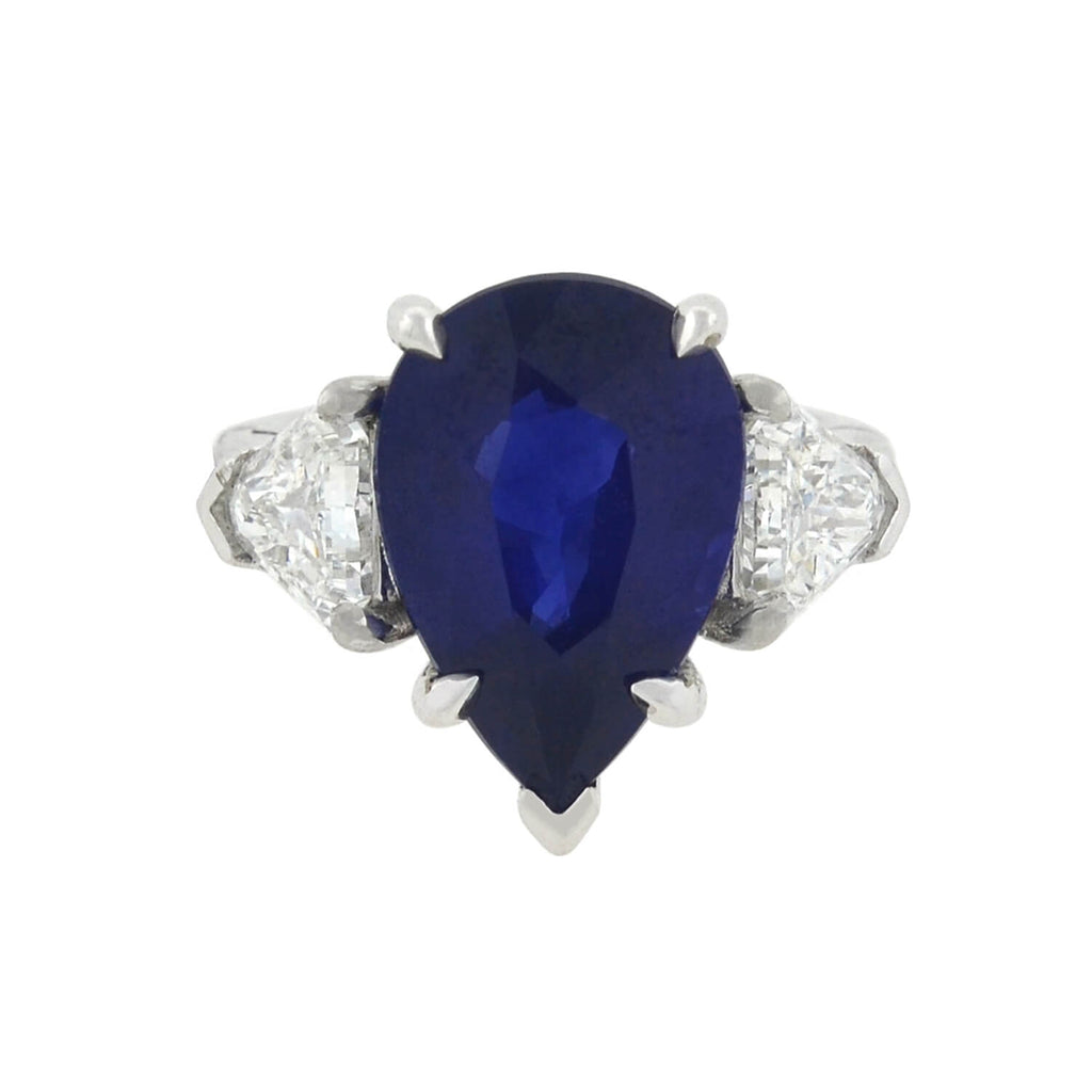 Estate 14kt Natural 6.05ct Pear Shaped Sapphire + Diamond Ring