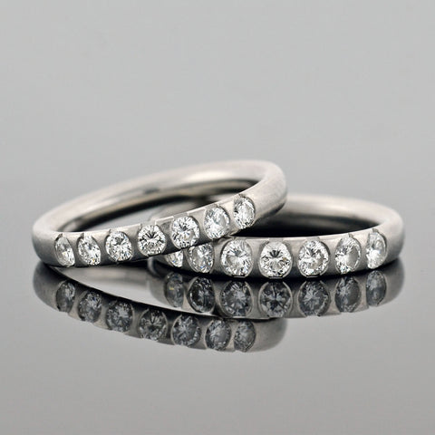 Estate Platinum Diamond Half Band Ring Set 0.91ctw