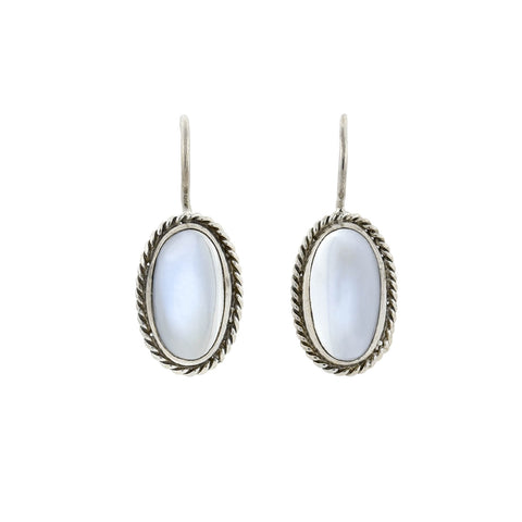 Vintage Sterling Silver Moonstone Cabochon Earrings