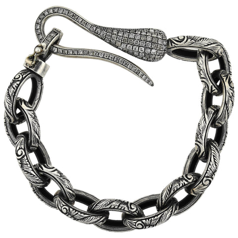 Estate Sterling Textured Link Bracelet + Diamond Hook Clasp