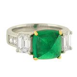 Estate 18kt Pyramidal Cabochon Emerald Diamond Ring 4ct