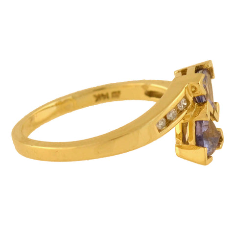Estate 14kt Tanzanite + Diamond Bypass Ring