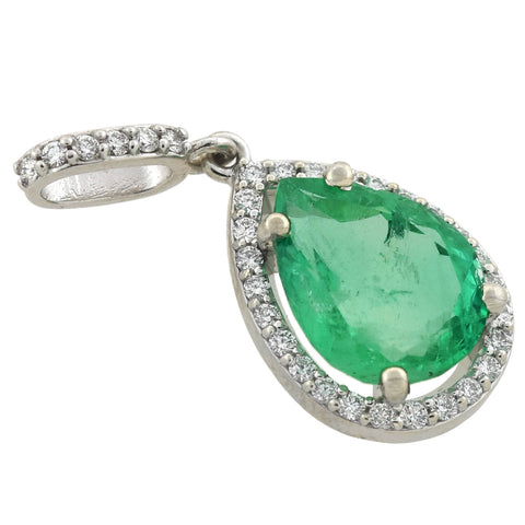 Estate 14kt Pear Cut Emerald + Diamond Teardrop Pendant 3.00ct center