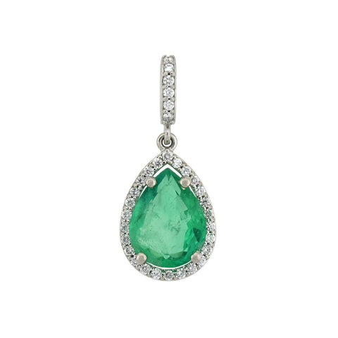 5x3mm Emerald Pear Domed Pendant In 14KT Yellow Gold