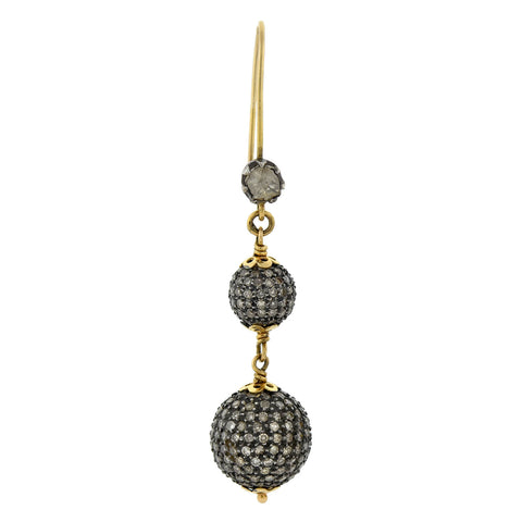Estate 14kt/Sterling Pave Diamond Ball Earrings