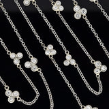 Estate 14kt 'Diamond Trefoil Clusters by the Yard' Chain Necklace 50.5