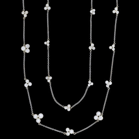 Estate 14kt 'Diamond Trefoil Clusters by the Yard' Chain Necklace 50.5""