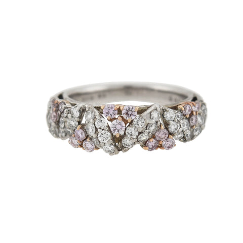 Estate 18kt Pink + White Diamond Floral Half Band Ring