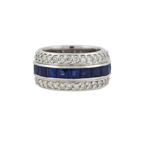 Estate Platinum Diamond + French Cut Sapphire Eternity Band 4.00ctw
