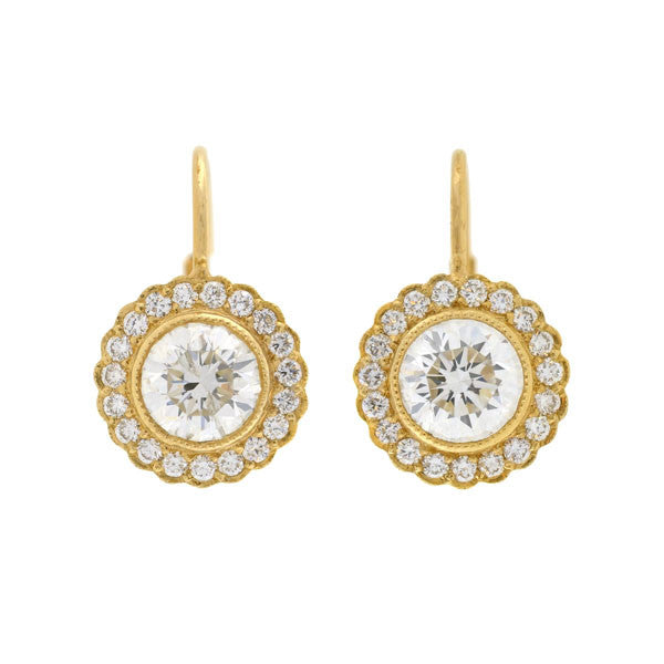 Estate 14kt Diamond Halo Earrings 1.80ctw