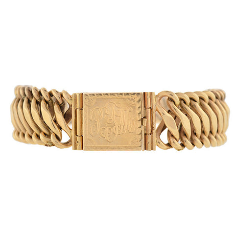 Victorian 14kt Woven Chain Link Gold Bracelet