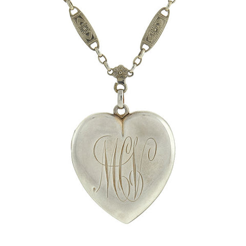 Victorian Sterling Silver Heart Locket with Ornate Chain Necklace