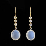 Edwardian 14kt Moonstone & Diamond Drop Earrings