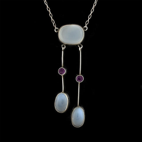 Art Nouveau Sterling Moonstone & Amethyst Drop Necklace