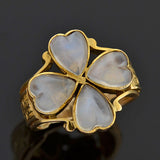 Retro 14kt Carved Heart Moonstone 4 Leaf Clover Ring