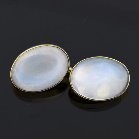 Late Victorian 14kt Moonstone Cabochon Cufflinks