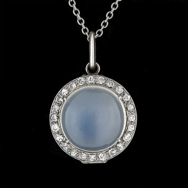 Edwardian Platinum Moonstone & Diamond Locket Necklace .75ctw