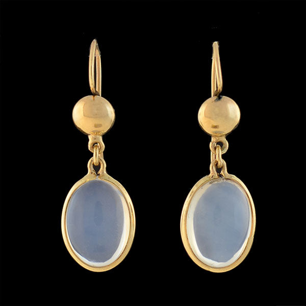 Vintage 14kt Moonstone Dangling Earrings