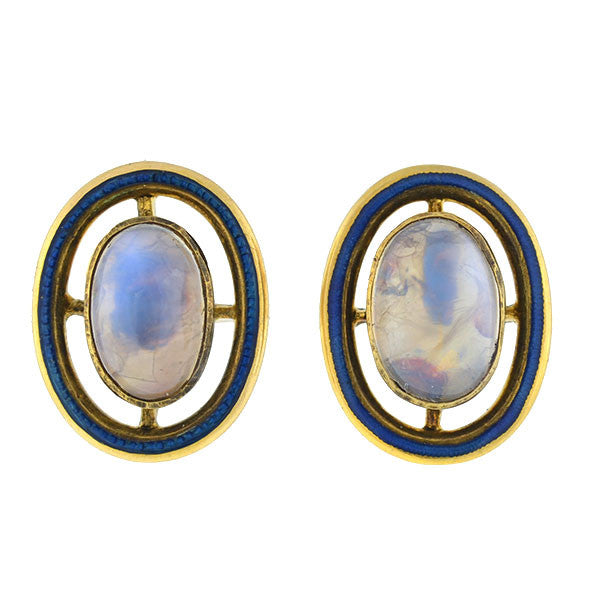 Edwardian 14kt Foil Back Moonstone & Enamel Stud Earrings