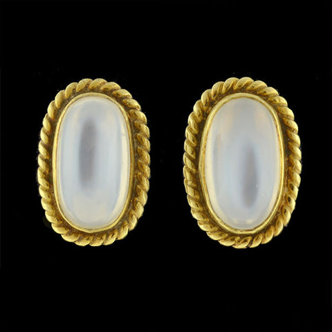 Vintage 14kt Moonstone Cabochon Clip Earrings