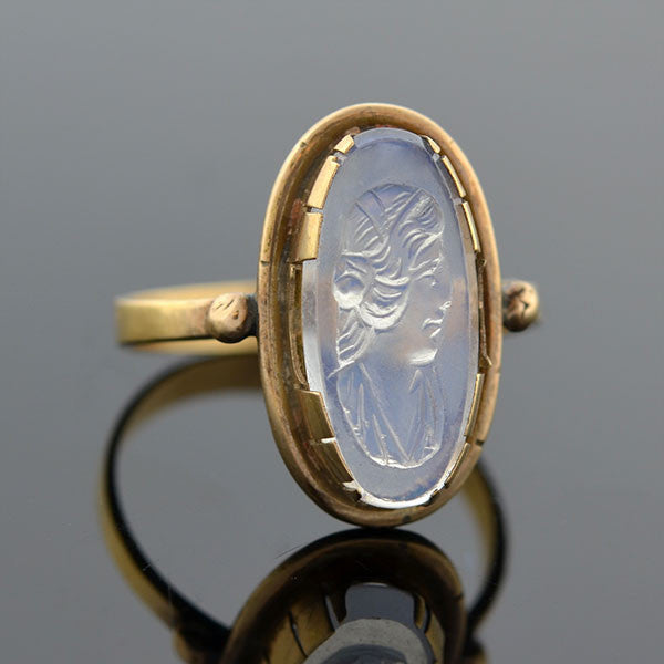 Art Deco French 14kt Carved Moonstone Cameo Ring
