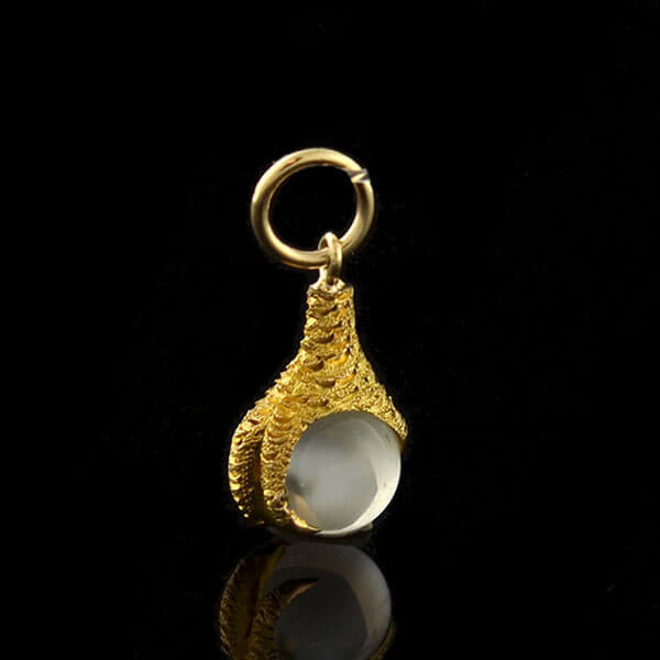 Victorian 14kt Moonstone Orb & Claw Charm