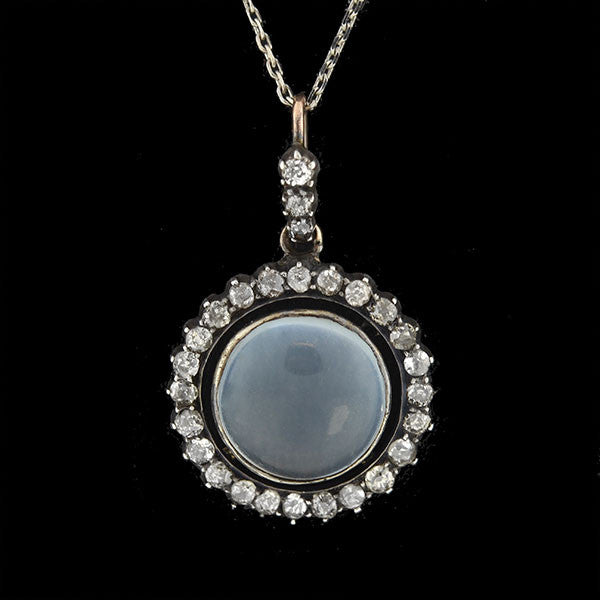 Victorian 14kt Silver Moonstone Diamond Necklace