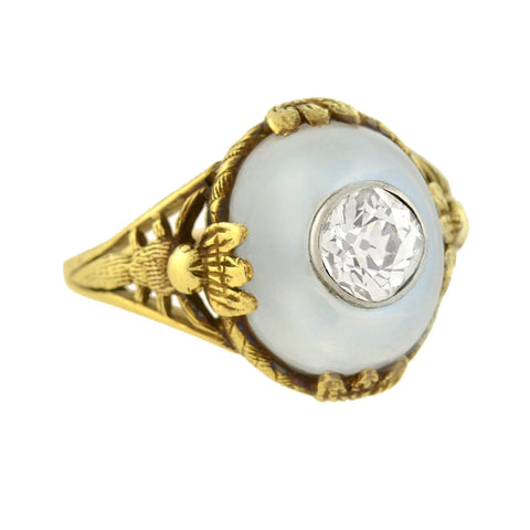 Art Nouveau 14kt Moonstone + Diamond Dragonfly Motif Ring 0.80ct center