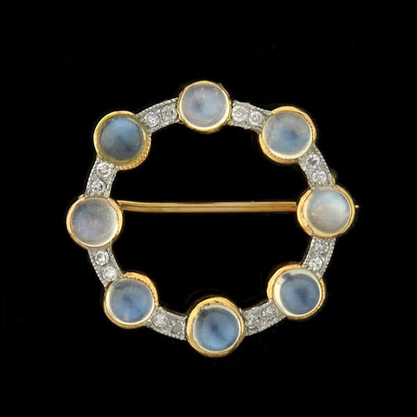 Edwardian 14kt/Platinum Moonstone & Diamond Circle Pin/Pendant