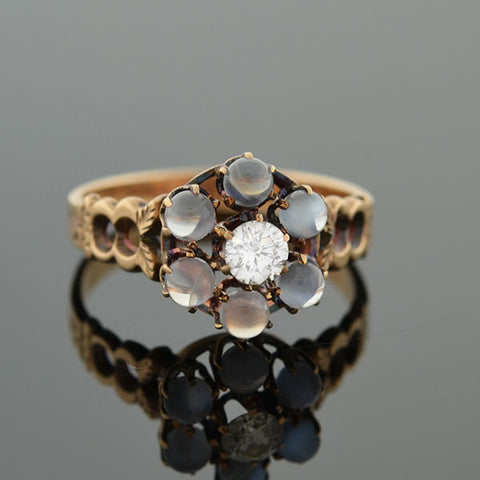 Victorian 12kt Moonstone & Diamond Cluster Ring