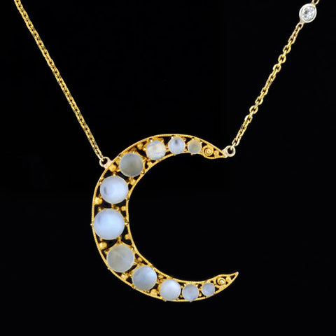 Victorian 14kt Moonstone & Diamond Crescent Necklace